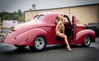 Vintage car, classic red car, girl, model