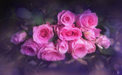 Beautiful art, pink flowers
