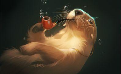 Otter animal, underwater, artwork