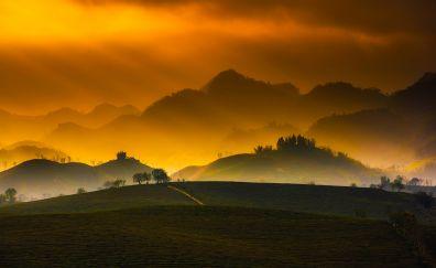 Vietnam, sunset, dusk, mountains, horizon, landscape