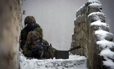 Soldier on war field