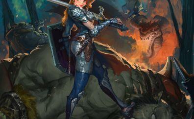 Girl, knight, warrior, monster, art
