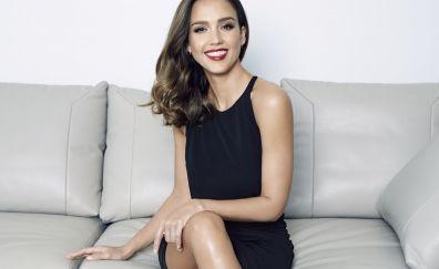 Jessica Alba, smile, celebrity, sit