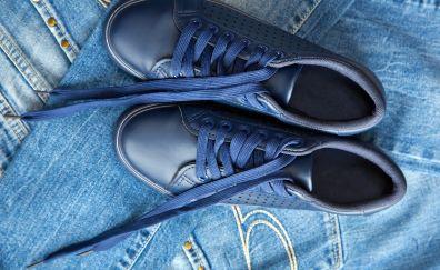 Jeans, shoes, shoe laces