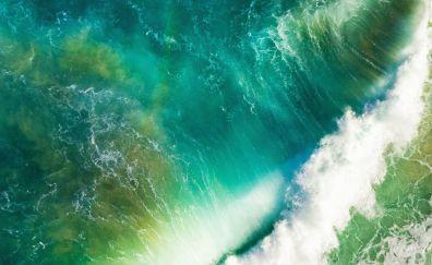 Aerial view, sea waves, foam
