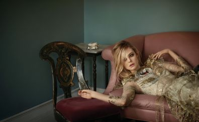 Elle Fanning, sofa, chair, celebrity