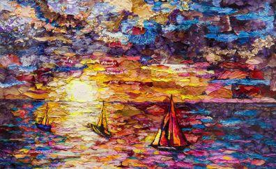 Sea, sunset, colorful, artwork, texture, 4k