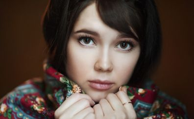 Beautiful, brown eyes, girl model, face