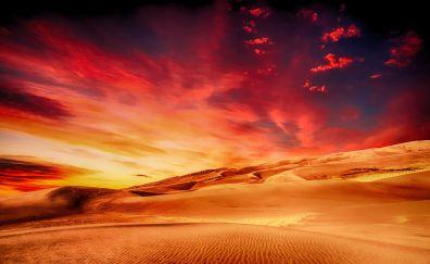 Desert, sunset, skyline, clouds, dunes