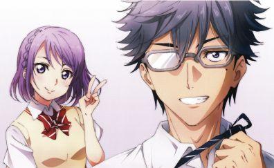 Yamada-kun to 7-nin no Majo, anime, anime boy, anime girl, 4k