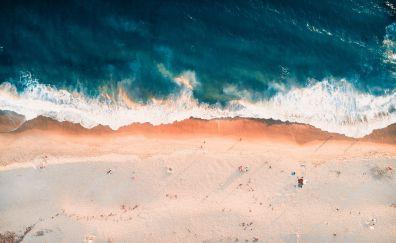 Aerial view, beach, waves