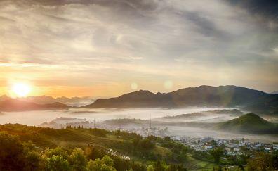 Sunrise, small city, fog, mountains, horizon, 5k