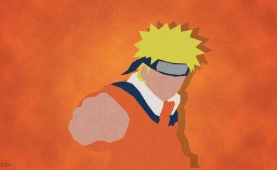 Naruto Uzumaki, anime, Naruto Shippuden minimalism art, 4k