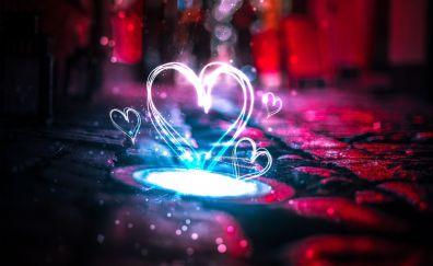 Neon, love, hearts, lights, 4k