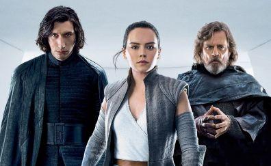 Kylo ren, rey, luke skywalker, star wars: the last jedi, 2017, Adam Driver, Daisy Ridley, Mark Hamill