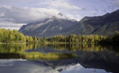 Reflections in Kenai Lake of alaska