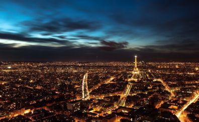 Paris city Aerial view in night