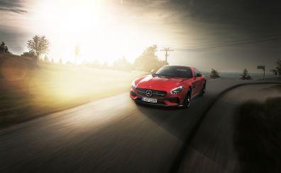 Mercedes-Benz, Red sports, luxury car