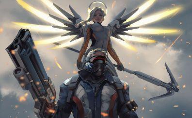 Mercy, Soldier: 76, overwatch, online game, art