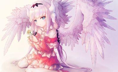 Kanna kamui, anime girl, cute, girl, wings