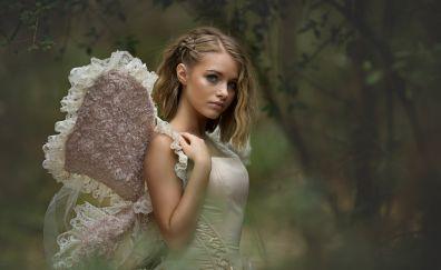 Blonde, girl model, angel, costume, cosplay