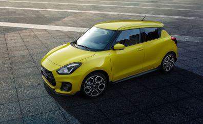 2018, yellow suzuki swift, sports car, 4k