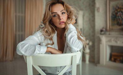 Sit, chair, girl model, blonde