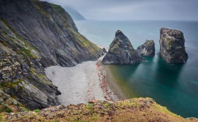 Cliffs, landscape, coast, sea