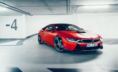 BMW i8, luxury, red sports car