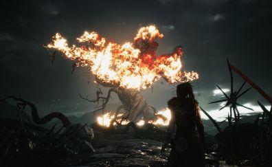Hellblade: Senua's Sacrifice, tree on fire, video game