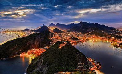 Rio de Janeiro, night, city, mountains, aerial view