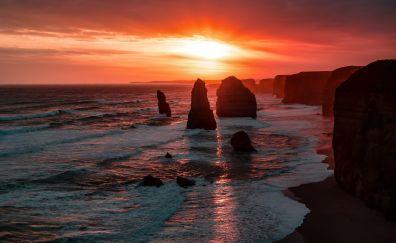 Sunset, skyline, The Twelve Apostles, cliffs