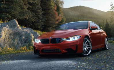 BMW M4 coupe red car