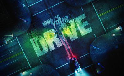 Neon Drive, video game, race, digital art