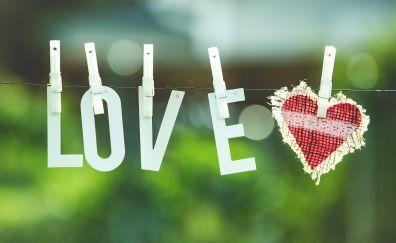 Love, heart, typography, bokeh