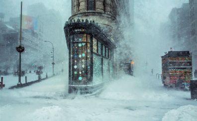 Street, buildings, winter, art