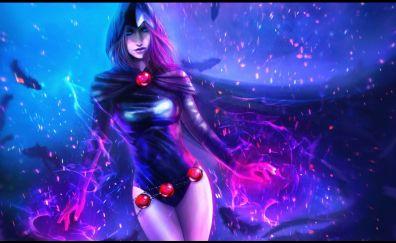 Raven, Teen Titans, villain, purple, art