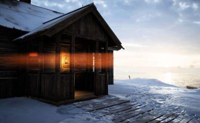 Cottage, house, winter, snow, lantern