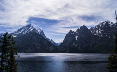 Grand Teton National park, Grand Teton, mountains, valley, sky, lake