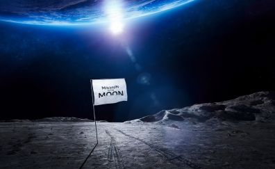 Mission to the moon, flag, space, earth
