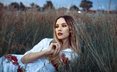 Lying down, girl model, blonde, meadow, grass