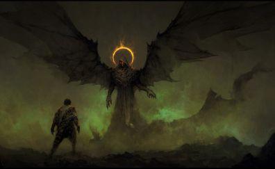Dark, angel, wings, art