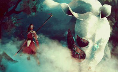 Rhino, woman warrior, fantasy, 4k