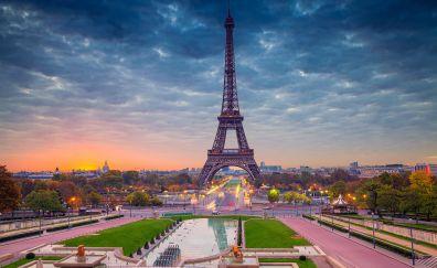 Eiffel tower, architecture, Paris, city, beautiful, sunset