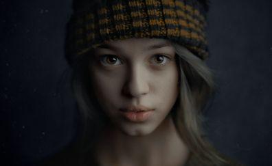 Brown eyes, girl model, face