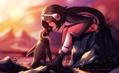 Penguin, girl, love, artwork
