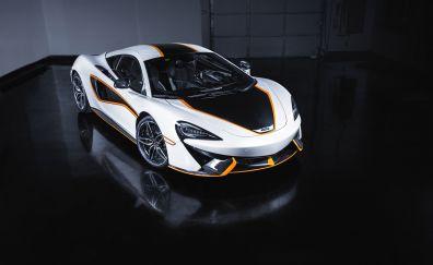 MacLaren, white sports car, 4k