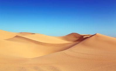 Sahara, desert dunes, desert, blue skyline, nature, 5k