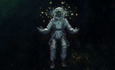 Astronaut, broken helmet, butterfly, space suit, fantasy, art