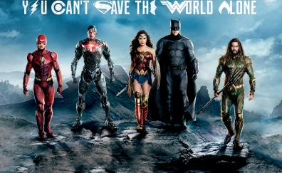 Justice league, The flash, cyborg, wonder woman, batman, aquaman, movie, 4k